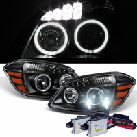 HID Xenon + 05-10 Chevy Cobalt 07-10 Pontiac G5 Angel Eye Halo Projector Headlights - Black