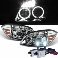HID Xenon + 05-10 Chevy Cobalt 07-10 Pontiac G5 Angel Eye Halo Projector Headlights - Chrome