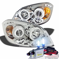 HID Xenon + 05-10 Chevy Cobalt / G5 CCFL Angel Eye Halo & LED Projector Headlights - Chrome