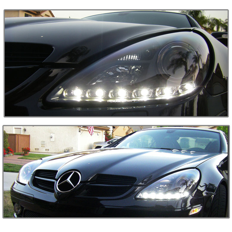 05 11 mercedes benz slk300 slk 350 slk55 led drl for Mercedes benz projector lights