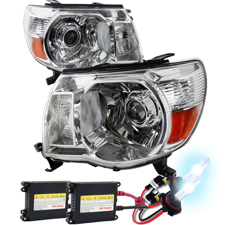 Hid xenon 05 11 toyota tacoma retro style projector headlights chrome publicscrutiny Image collections