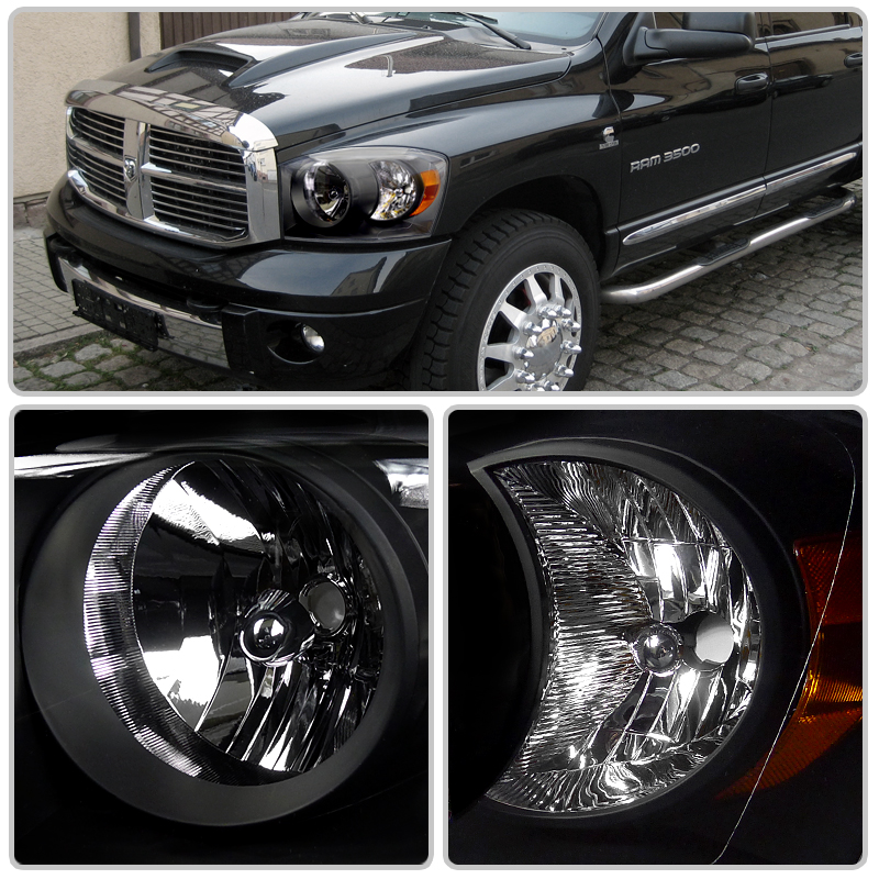 hid xenon 06 08 dodge ram 1500 2500 3500 crystal headlights chrome. Black Bedroom Furniture Sets. Home Design Ideas