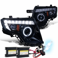 HID Xenon + 07-10 Ford Edge Halo & LED DRL Projector Headlights - Glossy Black