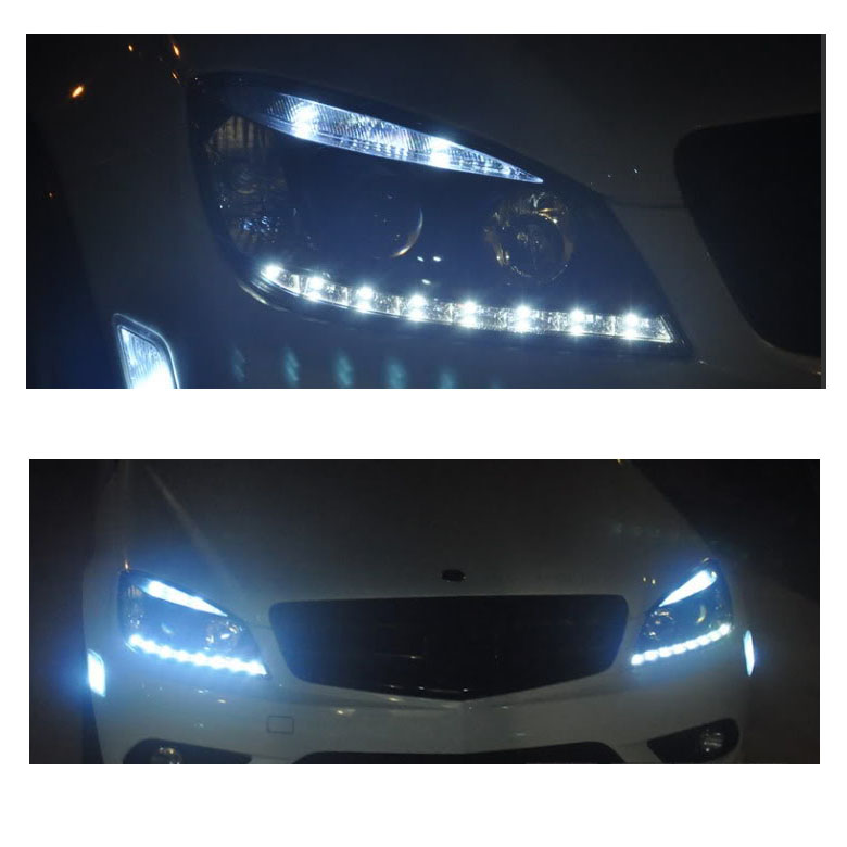 08 11 m benz c class w204 led drl projector headlights for Mercedes benz projector lights