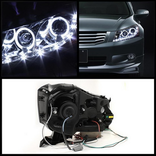Hid Xenon 08-12 Honda Accord Sedan Angel Eye Halo Proiettore Fari - Nero-1195