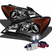 HID Xenon + 10'-12' Hyundai Genesis LED DRL Projector Headlights - Black