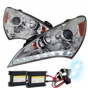 HID Xenon + 10-12 Hyundai Genesis LED DRL Projector Headlights  Chrome