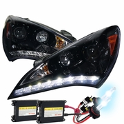 HID Xenon + 10-12 Hyundai Genesis LED DRL Projector Headlights  Glossy Black