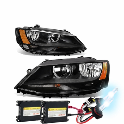 HID Xenon + 11-17 Volkswagen Jetta 4-Door MK6/A6 Pair of Headlight - Black Amber