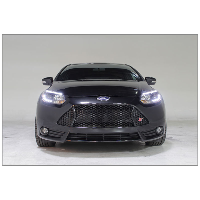 Hid Xenon   Ford Focus Led Drl Fiber Optic Style Projector Headlights Smoked