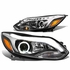 12-14 Ford Focus Pair of LED Halo Projector Headlight w/ Running Light Strip - Black