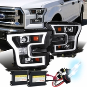 HID Xenon + 15-16 Ford F-150 LED DRL Projector Headlights - Black