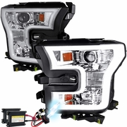 HID Xenon + 15-16 Ford F-150 LED DRL Projector Headlights - Chrome