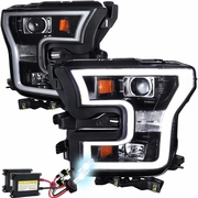 HID Xenon + 15-16 Ford F-150 LED DRL Projector Headlights - Gloss Black