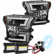 HID Xenon + 15-17 Ford F150 LED DRL Projector Headlights - Black