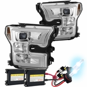 HID Xenon + 15-17 Ford F150 LED DRL Projector Headlights - Chrome