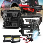 HID Xenon + 15-17 Ford F150 LED DRL Projector Headlights - Smoked
