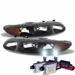 HID Xenon + 1999-2004 Oldsmobile Alero Replacement Crystal Headlights - Black