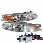 HID Xenon + 1999-2004 Oldsmobile Alero Replacement Crystal Headlights - Chrome