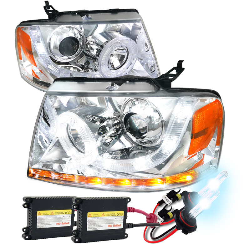 HID Xenon 2004 2008 Ford F150 LED DRL Halo Projector