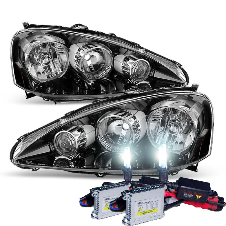 HID Xenon Acura RSX Crystal Replacement Headlights - Acura rsx headlight bulb