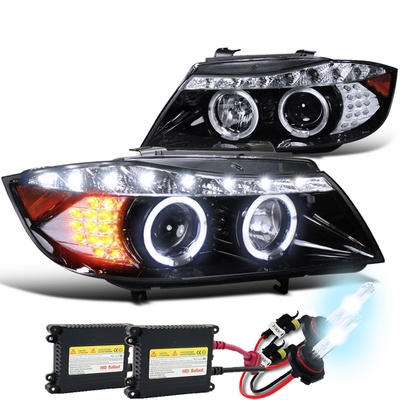 HID Xenon + 2006-2008 BMW E90 3-Series 4dr [Halogen Model] Halo LED DRL Projector Headlights - Gloss Black