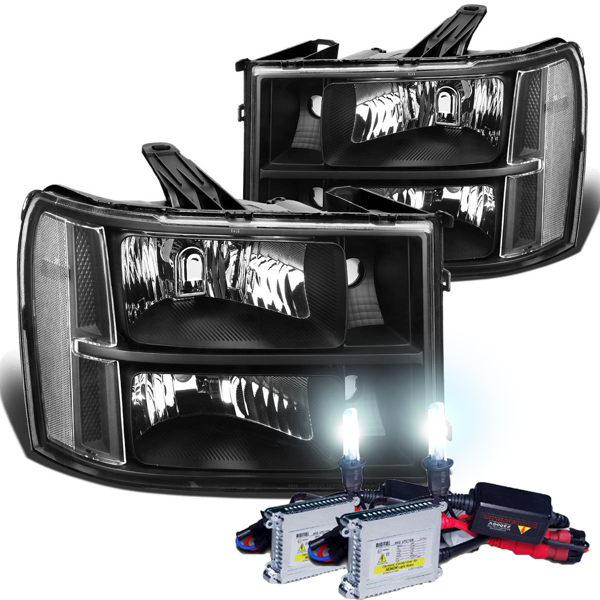 hid xenon 2007 2013 gmc sierra 1500 2500 3500 hd replacement crystal headlights black clear 43 hid xenon 2007 2013 gmc sierra 1500 2500 3500 hd replacement  at readyjetset.co