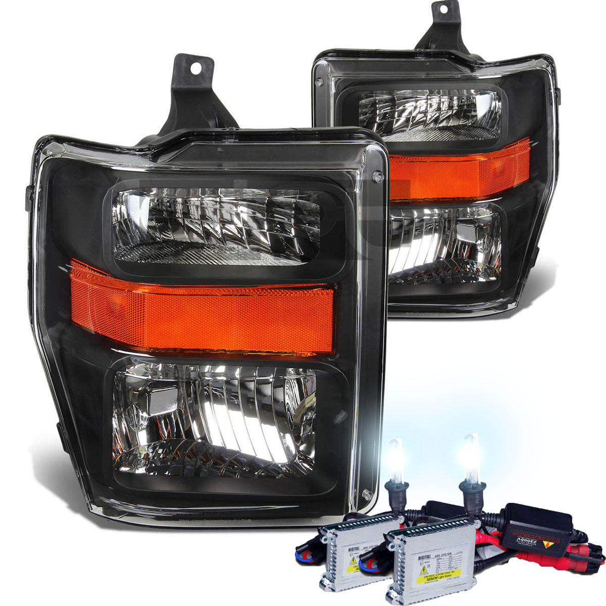 Hid Xenon   2008-2010 Ford F250 F350 Superduty Crystal Replacement Headlights