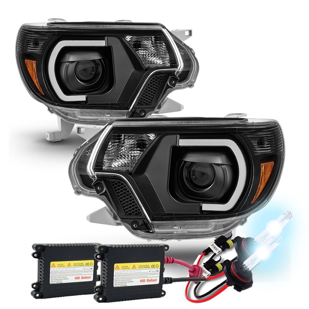 Hid xenon 2012 15 toyota tacoma led drl projector headlights black publicscrutiny Image collections