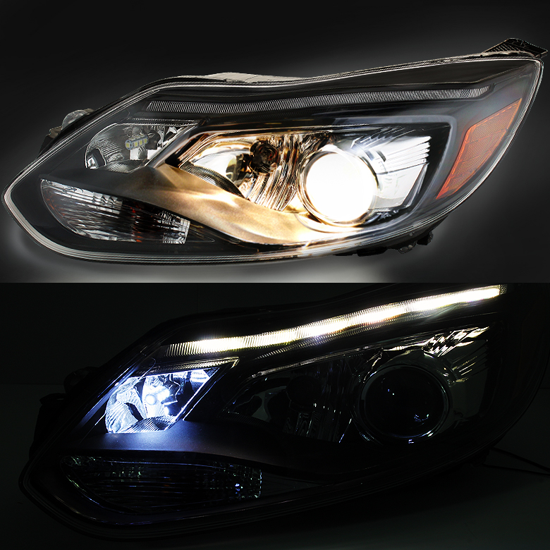 Hid Xenon   Ford Focus Fit Halogen Model Led Drl Projector Headlights Smoked