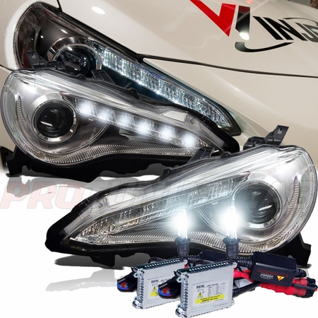 hid xenon 2012 2014 scion fr s frs jdm style led drl strip projector headlights chrome. Black Bedroom Furniture Sets. Home Design Ideas