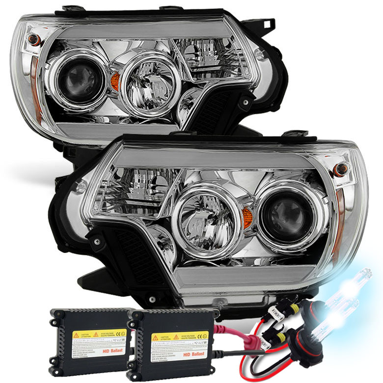 Hid xenon 12 15 toyota tacoma led drl projector headlights chrome publicscrutiny Image collections
