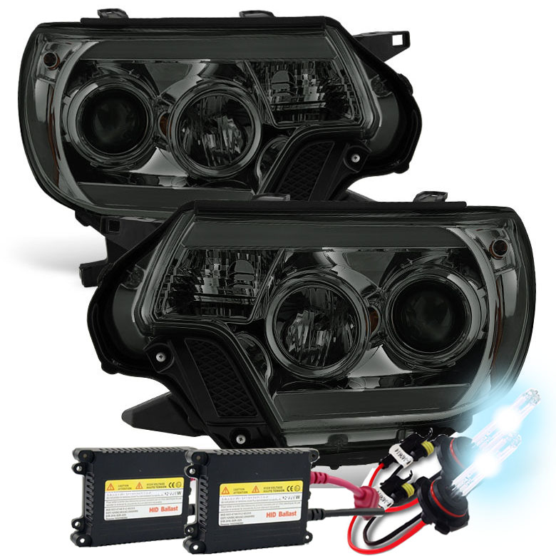 Hid xenon 12 15 toyota tacoma led drl projector headlights smoked publicscrutiny Image collections