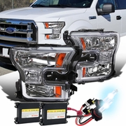 HID Xenon + 2015-17 Ford F150 Pickup Crystal Replace Headlights - Chrome