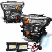 HID Xenon + 2015-17 Ford F150 Pickup Crystal Replace Headlights - Black