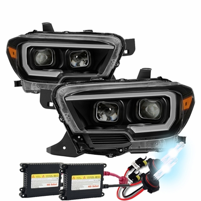 HID Xenon + 2016-19 Toyota Tacoma Sequential LED Signal / DRL Projector Headlights - Black