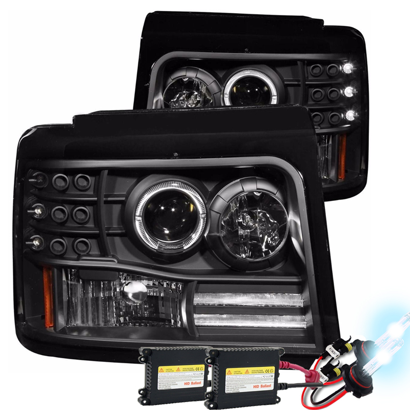 Hid Xenon   Ford Bronco F F Angel Eye Halo Projector Headlights Black