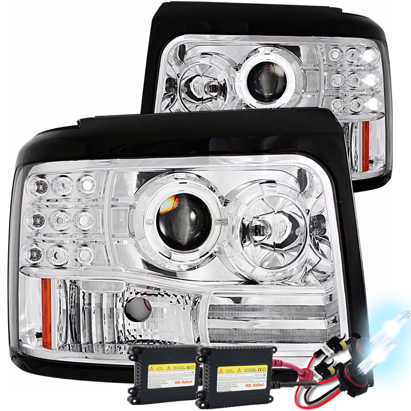 Hid Xenon   Ford Bronco F F Angel Eye Halo Projector Headlights Chrome