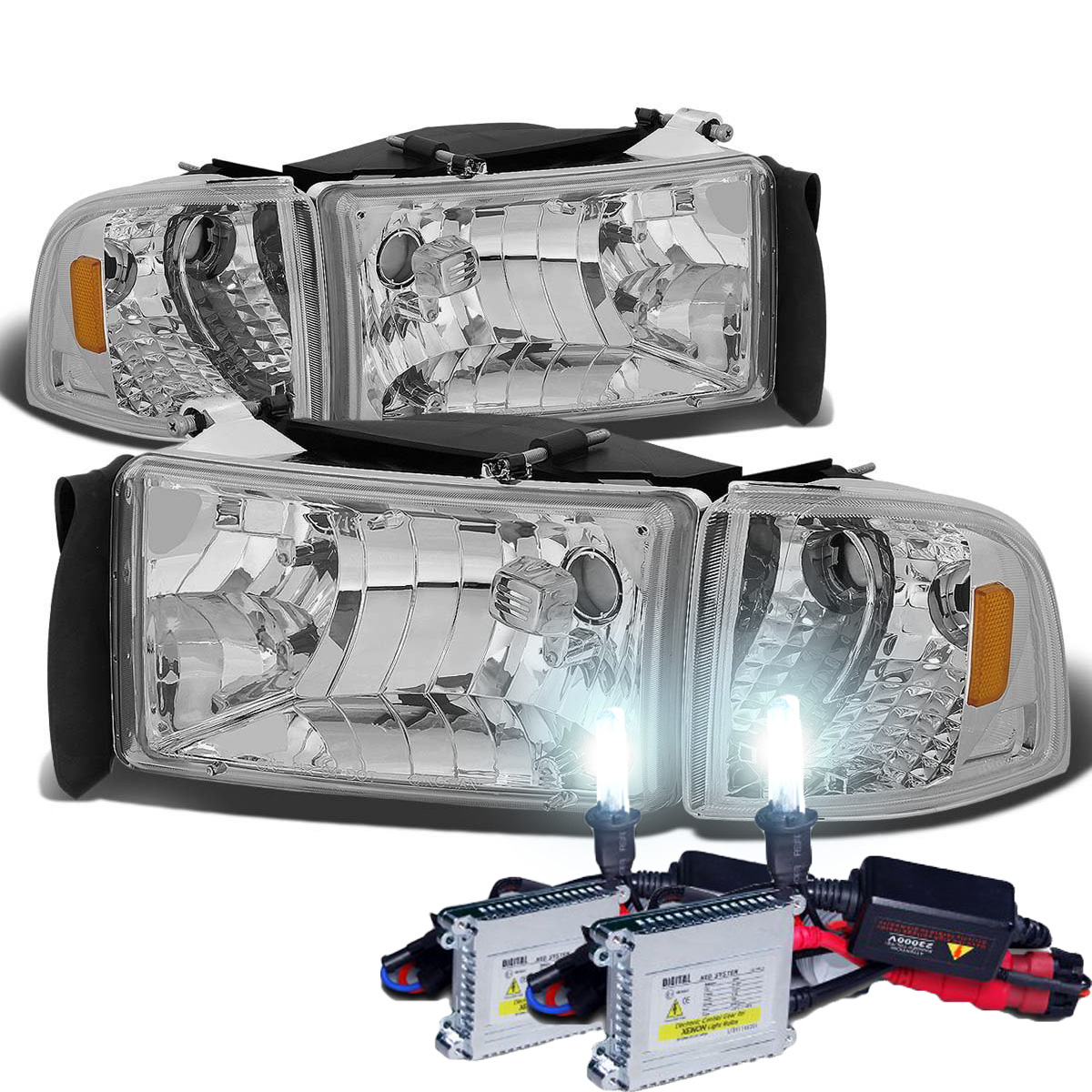 HID Xenon + 94-01 Dodge RAM 1500 2500 3500 OEM Style Crystal ...