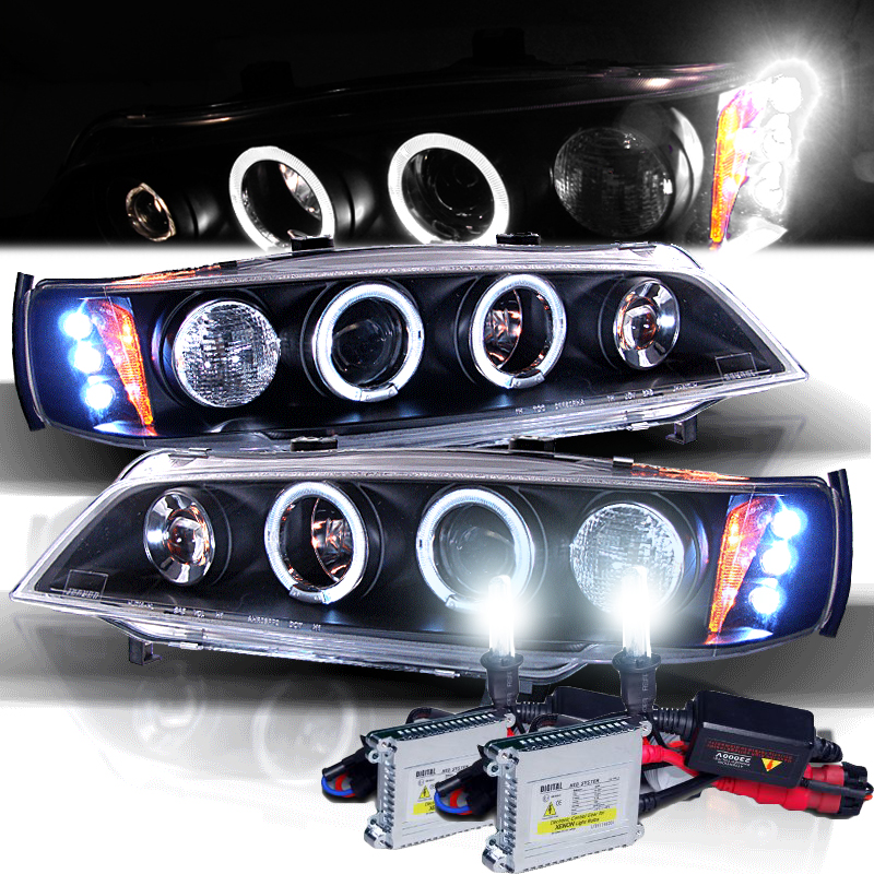 Hid Xenon 94-97 Honda Accord Angel Eye Halo Proiettore Fari - Nero-6829