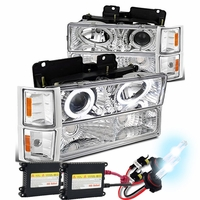 HID Xenon + 94-98 Chevy C10 Angel Eye Halo Projector Headlights Set - Chrome