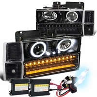 HID Xenon + 94-98 Chevy Full Size Pickup C10 C/K Halo Projector Headlights + LED Bumper Lights - Black / Clear