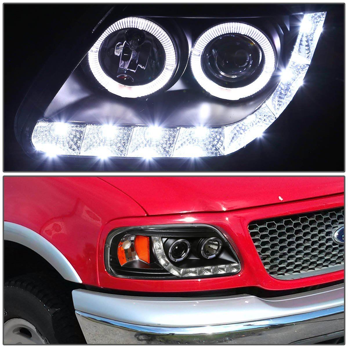 Hid xenon 97 03 ford f150 expedition angel eye led strip projector headlights black