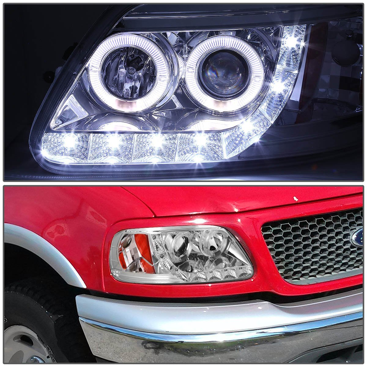 Hid xenon 97 03 ford f150 expedition angel eye led strip projector headlights chrome