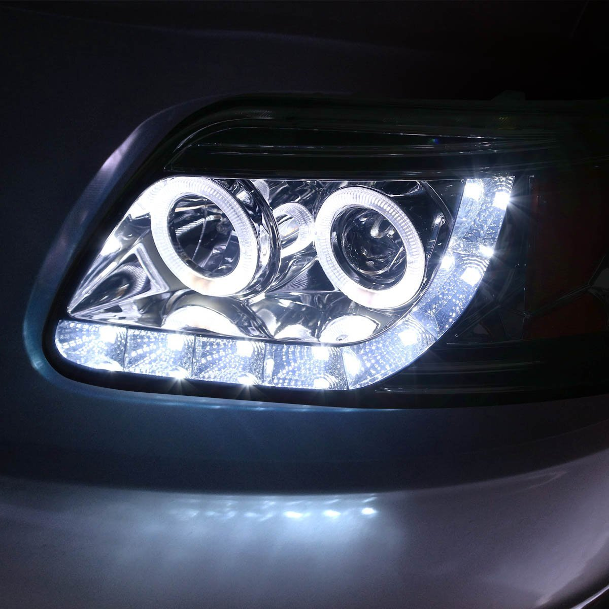 Hid xenon 97 03 ford f150 expedition angel eye led strip projector headlights smoked