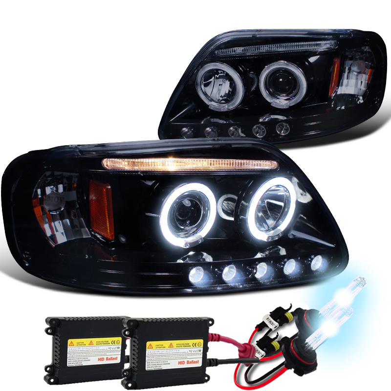 97 03 Ford F150 Black Halo Projector Led Headlightsml