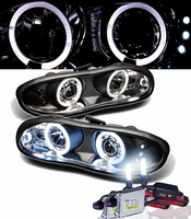 HID Xenon + 98-02 Chevy Camaro Angel Eye Halo LED Projector Headlights - Black