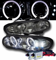 HID Xenon + 98-02 Chevy Camaro Angel Eye Halo LED Projector Headlights - Smoked