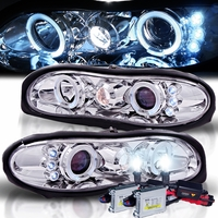 HID Xenon + 98-02 Chevy Camaro Angel Eye Halo Projector Headlights - Chrome