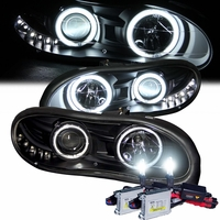 HID Xenon + 98-02 Chevy Camaro CCFL Angel Eye Halo & LED DRL Projector Headlights - Black